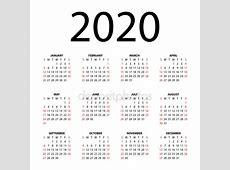 Vectores de stock de Calendario 2020, ilustraciones de