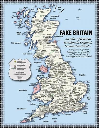 Map Wales England Scotland Britain Fake Fictional