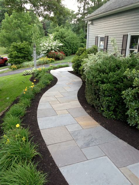 front garden paths design curving bluestone walkway with radius granite steps contemporary landscape boston by