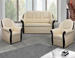 Fauteuil Et Canapé : ensemble canap et 2 fauteuils beige et weng ~ Teatrodelosmanantiales.com Idées de Décoration