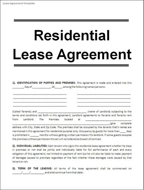 sample lease agreement  renting  house google search