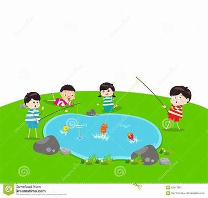 Fishing Pond Clipart Kid Boy Vector Illustration