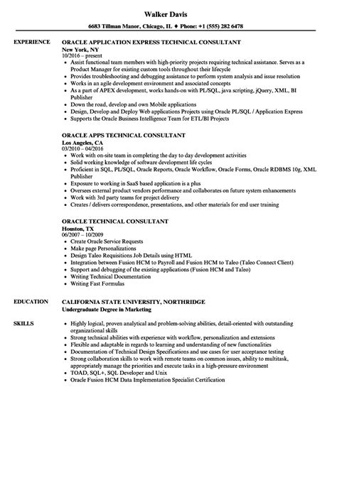 oracle technical consultant resume sles velvet