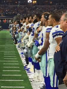 Dallas Cowboys Standing during National Anthem