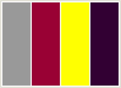 colors that go with yellow colorcombo93 with hex colors 999999 990033 ffff00 330033