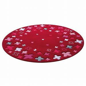 tapis bloom field rouge chambre bebe fille par esprit home With tapis rond fille
