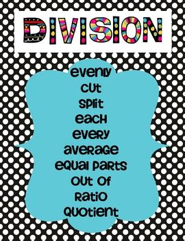 multiplication  division key words poster set