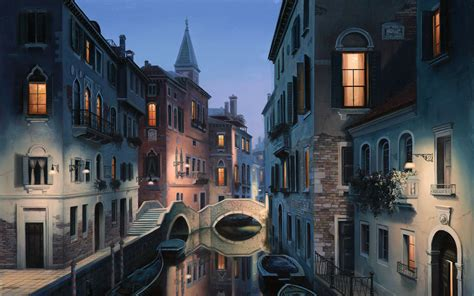 Eugene Lushpin Painting Lushpin City Venice Italy Canal