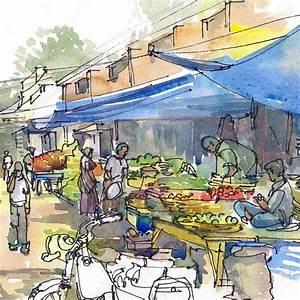 India Sketch Farmer's Market under the blue tarps fresh