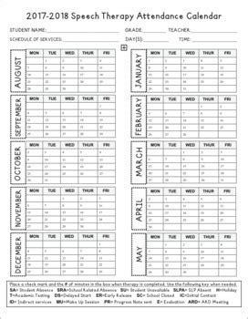 speech therapy attendance calendar  daily notation logs