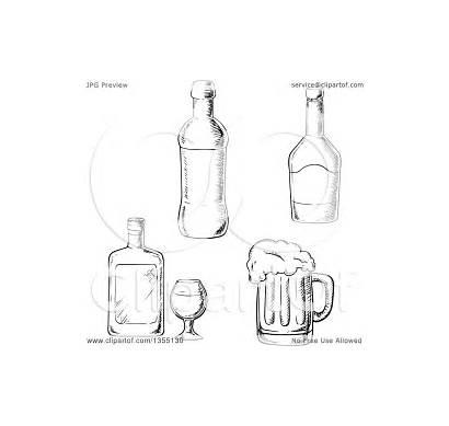 Beer Liquor Mug Bottles Vector Clipart Illustration