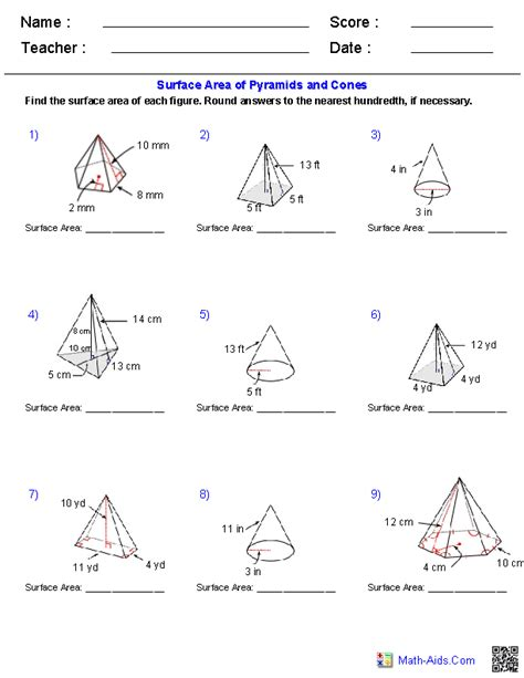 pyramids  cones surface area worksheets geometry