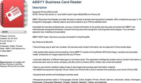 Abbyy Business Card Reader- Iphone App Review Business Fiscal Year Calendar Cards Design Only Magnets Card Video Tutorial Desktop Your Own Online Christmas With Holder App Time Zones