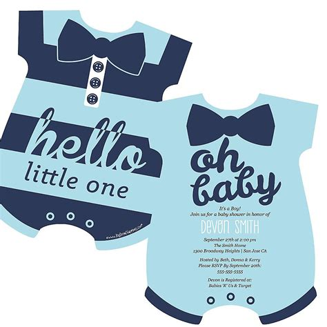 boy onsie shaped baby shower invitations