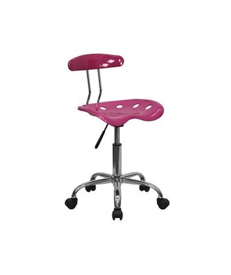 flash furniture vibrant pink and chrome computer task