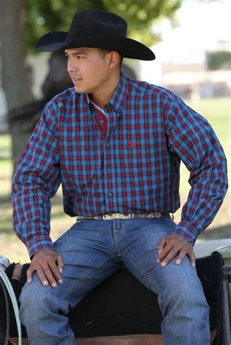 cinch western shirt button  blue red plaid rodeo large