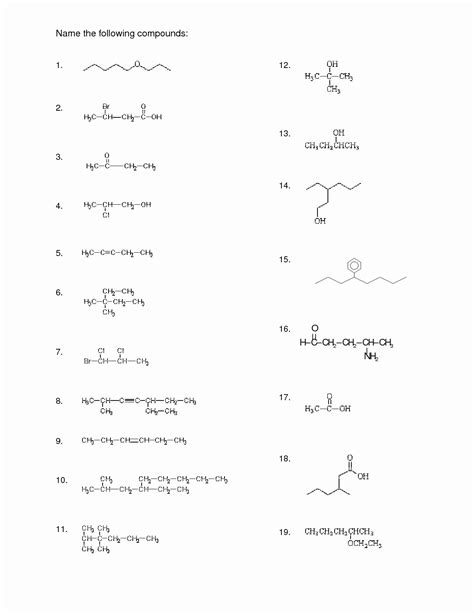 organic chemistry worksheet  answers awesome