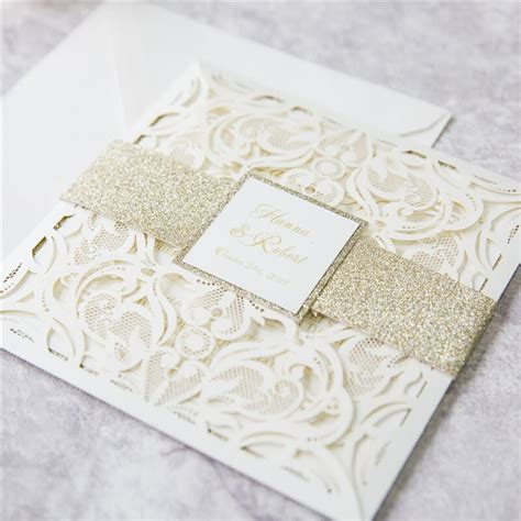 ivory gold glitter laser invitations red rose invitations