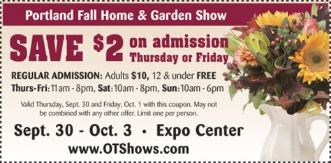 coupon to the fall home garden show