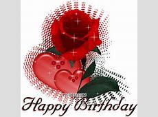 Happy Birthday Hearts & Red Rose Glitter PicDesicom