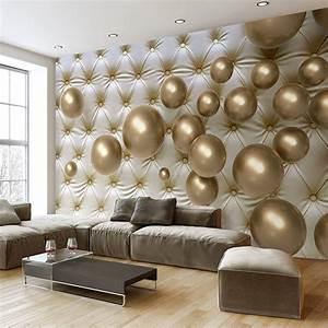 3D Wallpaper Modern Art Abstract Mural Golden Ball Soft ...