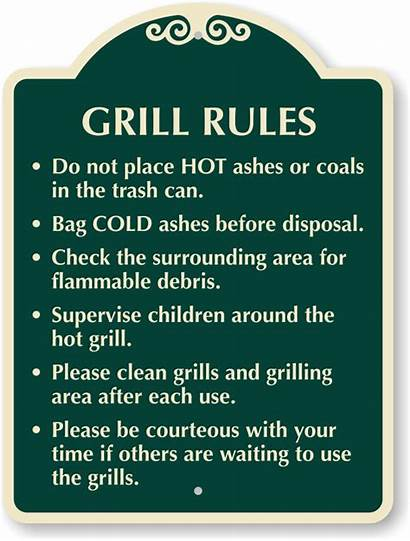Rules Grill Sign Clean Etiquette Area Grills
