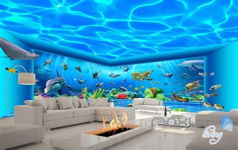 auquarium view ray fish entire room wallpaper wall