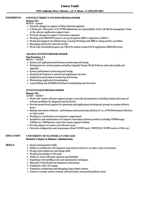 system programmer resume 28 images pin by resume