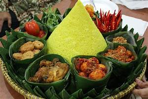 Indonesian tumpeng, serve for a special occasion. Yellow ...