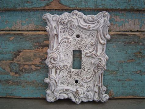 shabby chic light switch covers light switch plate cover white washed ornate shabby chic metal
