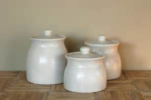 kitchen canisters vintage white ceramic canisters set of 3