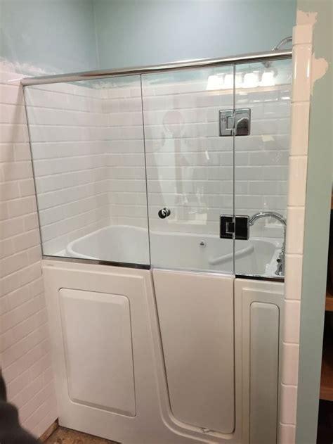 shower door installed   walk  tub walk  tub