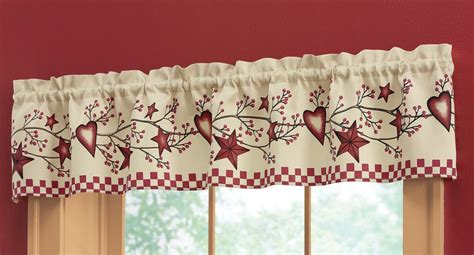primitive country kitchen curtains country primitive berries window valance 71 quot w x 14 4414