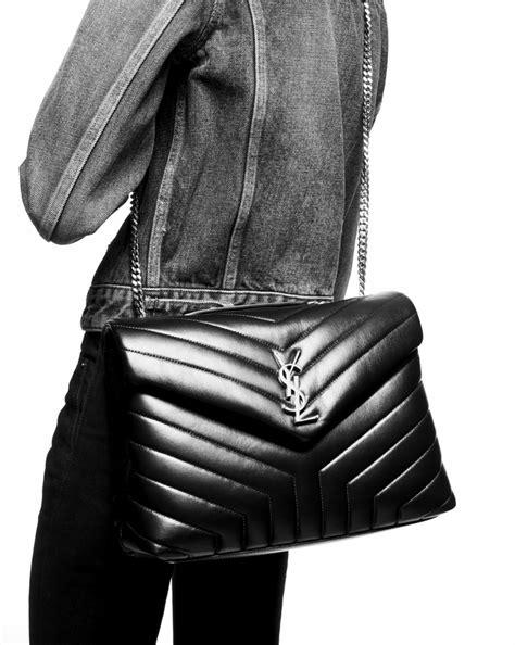 saint laurent medium loulou chain bag  black  matelasse leather yslcom
