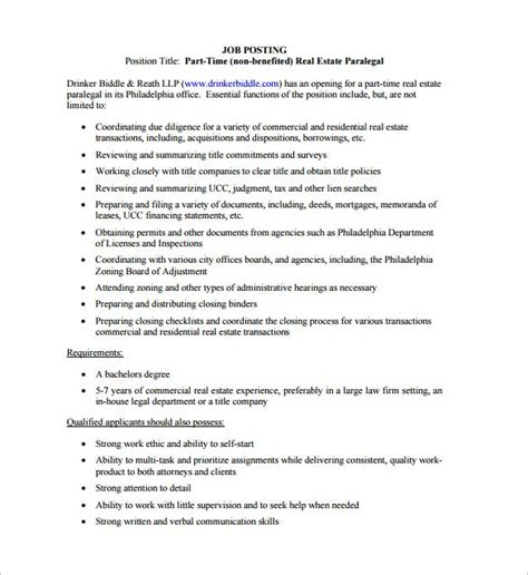 legal assistant job description template estate pdf templates