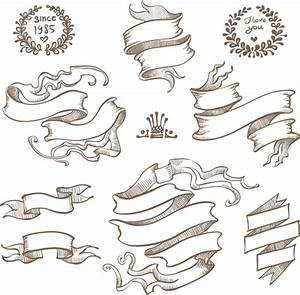 Retro hand drawn ribbon with ornaments vector 04 - Vector ...