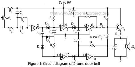 Electronic Bell Circuit Diagram circuit diagram of 2 tone door bell electronics