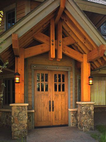 beautiful wooden portico mountain home exterior wooden