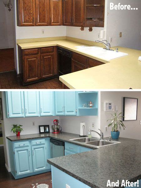 antes  despues una cocina pintada de azul antes