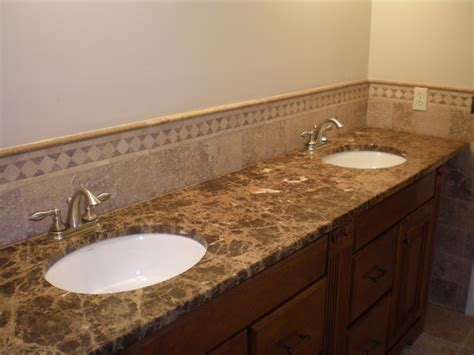 tile on kitchen countertops light emperador marble traditional bathroom new york 6174