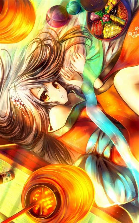 brunettes touhou anime colorful android wallpaper