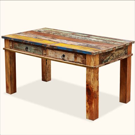 distressed wood dining table 2 drawers rustic reclaimed wood distressed dining table