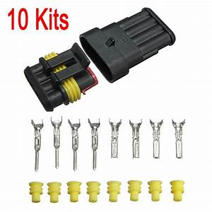 Best Promotion 10 Set Car Auto 4 Pin Way Sealed Waterproof Electrical Wire Connector Plug Set