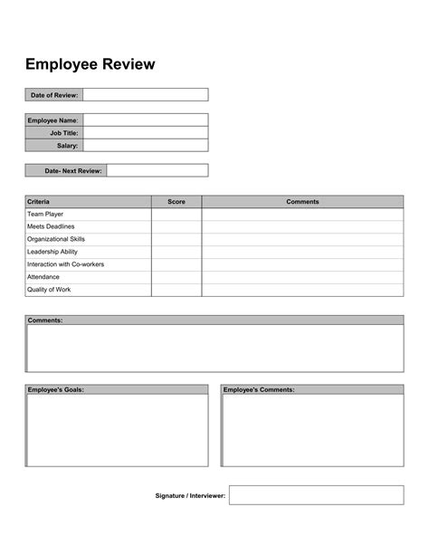 work review forms   word