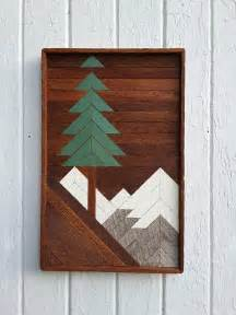 reclaimed wood wall art mountain pine tree scene santa fe