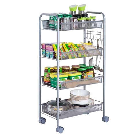 wire kitchen rack storage 3 4 5 tier organizer metal rolling storage shelving rack 1557