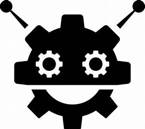 Robocog Logo Of A Robot With Cogwheel Head Shape Svg Png