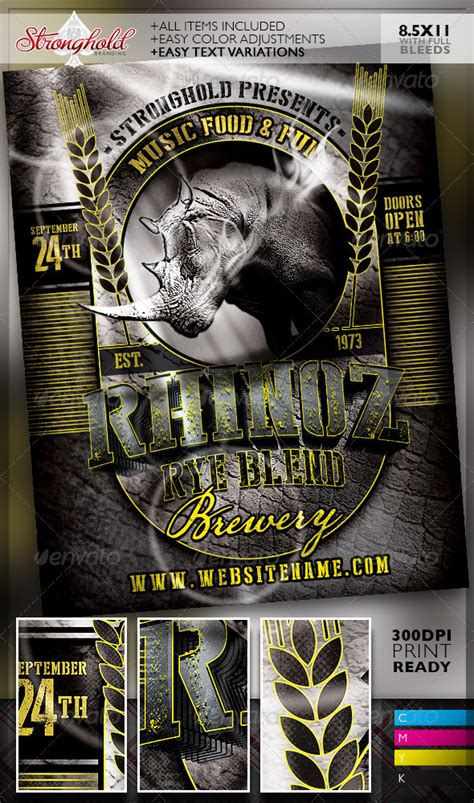 Transferring Preset Templates For Scribe America by Rhino Rye Brewery Flyer Template Graphicriver