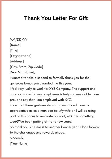 A Thank You Letter For An by How To Write Thank You Letter Template For Gift How To Wikii