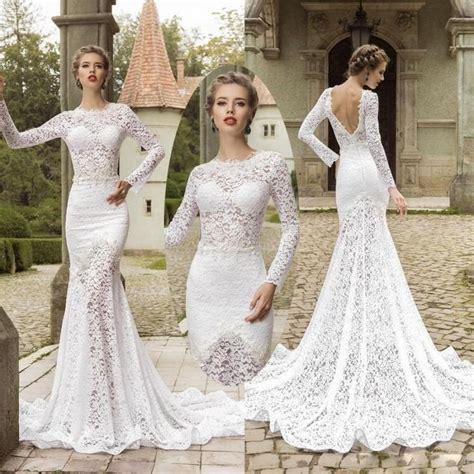 Elegant Boho Backless Wedding Dress 2016 Long Sleeve O